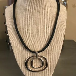 Black Silver Double Circle Necklace